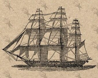 Image Nautical Sailing Ship Instant Download picture Retro drawing Digital printable vintage clipart print Black white graphic HQ 300dpi