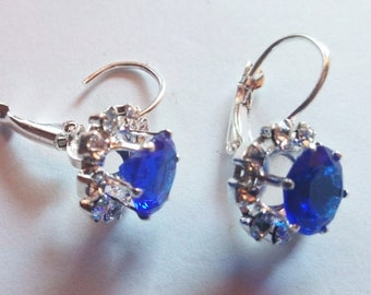 Crystal Earrings blue Sapphire clear Diamonds transparent Rhinestone, silver plated, hoop clasp, teens girls, adult women, not allergic