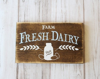Farmhouse Kitchen Sign Country Home Decor Rustic Sign Dairy Sign Farm Fresh Dairy #downintheboondocks