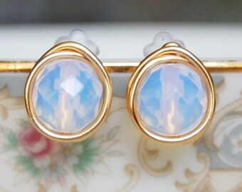Opalite Studs , October Birthstone Earrings , Bridesmaid Earrings , Wire Wrapped Opalite Earrings