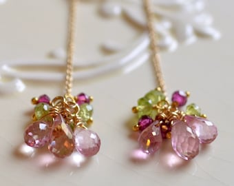 Gemstone Earrings, Threaders, Pink Topaz Peridot Rhodolite, Spring Colors, Sterling Silver or Gold Jewelry, Made to Order, Free Shipping