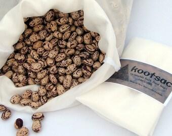 Reusable bulk bin bag, reusable food bag, natural silk food bag, biodegradable food bag, silk bag, grain bag, white