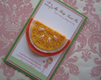 Girl hair clips - girl barrettes - orange hair clips - no slip hair clips