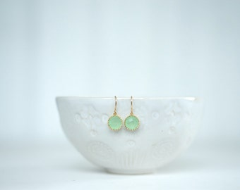 Mint Green and Gold Circle Earrings   Bridesmaid Earrings   Wedding Jewelry