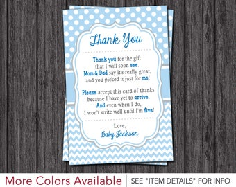 Baby Shower Thank You Cards | Boy Baby Sprinkle Thank You Cards | Baby Blue, Blue, and Gray