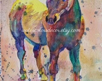 Rainbow Horse Watercolor Print. Horse painting. Horse picture. Horse wall art. Horse artwork. Watercolor animal. Country decor. Cowboy decor