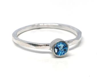 Blue Topaz Engagement Ring - Swiss Blue Topaz Ring - December Birthstone - Gemstone Engagement Ring - Gemstone Stack - Silver Stacking Ring