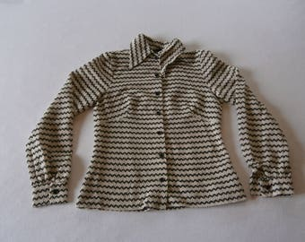 60's B&W Blouse with Gold Details