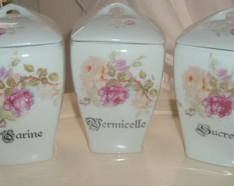 Storage jars with roses