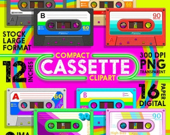 """Compact Cassette Clipart + Digital Paper - 8 Images 12 inches and 16 12x12"""" Digital Paper 300 dpi - Instant Download"""