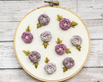 Embroidery Hoop Wall Art - Embroidery Art - Hand Embroidery - Modern Embroidery - Embroidered Home Decor - Nursery Decor - Floral Embroidery