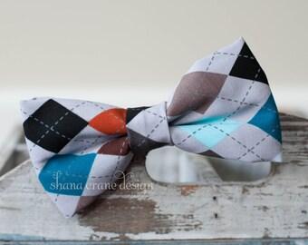 William . Bow Tie . Grey, Blue, White, Brown, Orange Argyle