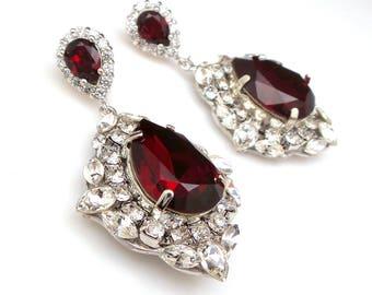 wedding jewelry bridal bridesmaid gift prom party christmas teardrop swarovski dark siam red clear white crystal fancy rhinestone earrings