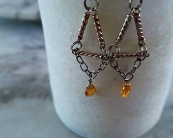 golden citrine & sterling silver earrings