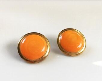 Orange Earrings Studs, Round Orange Earrings Orange and Gold Earrings, Earrings Vintage Enamel Post Earrings, Jewelry Vintage Candy Earrings
