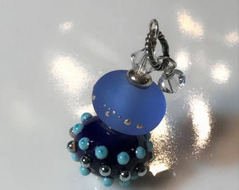 Necklace blue glass art lampwork stacked beads with crystals