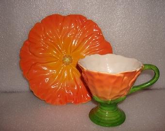 Teleflora Orange Poppy Flower Porcelain Cup And Saucer Set