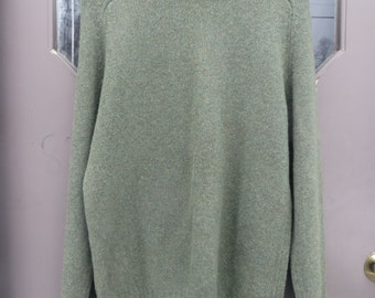 Vintage green pure shetland  wool BAY Trading Company size large   mens or ladies