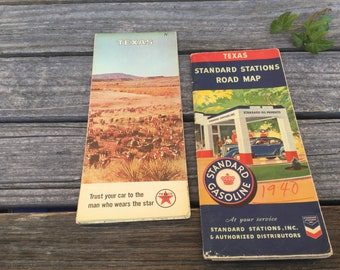 2 vintage Road Maps Of Texas