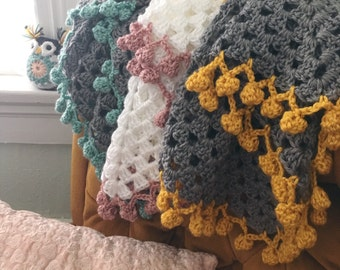 POM POM Snuggle Blanket - pick your colors