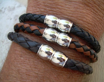 Mens Braided Leather and Stainless Steel Magnetic Clasp Leather Bracelet, Mens Jewelry, Mens Bracelet, Leather Bracelet,Groomsmen, Mens Gift