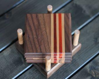 Walnut, pad auk and cherry wood coaster set.  Free shipping in Canada
