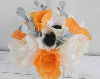 White and orange bouquet with peonies, anemones, poppies and eucalyptus branches, paper flower bouquet, tissue paper flowers