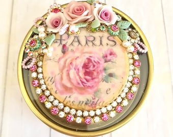 round gold metal box assemblage with pink rose Paris image Swarovski crystals and porcelain flowers