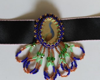 Beadwoven Peacock Pendant . Colorful Beadwork .Bird Choker . OOAK Green Blue Gold Bird Necklace- Black Silk Choker by enchantedbeads on Etsy
