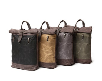 Waxed Canvas Roll-down Backpack with Leather Strap