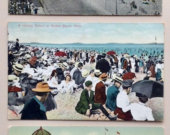 Revere Beach MA, Vintage Postcards, early 1900's,  Post cards, Lot of three, Revere Beach, the Boulevard, Victorian, Revere Beach souvenir