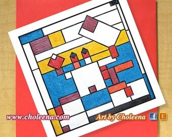 Mondrian Fiddler Crab Card- Greeting Card- Small Card- Any Occasion- Blank Card- Fiddler Crab Card- Mondrian Tribute Card- Pop Art Card