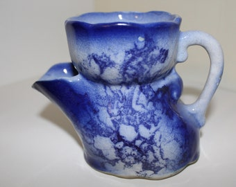 Victorian Shaving Scuttle Mug Flow Cobalt Blue Ironstone
