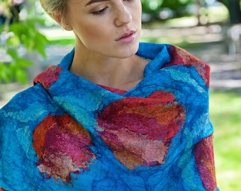 Pure Silk and Merino Wool Shawl Designer Floral Scarf Large Wrap Bright Colorful Nuno Felted Scarf Statement Wet Felted Scarf Red and Blue