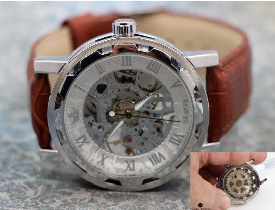 Personalized Engraved Man Watch Skeleton see thru front & back Mechanical watch men. Stainless Steel Case, Brown Leather Band