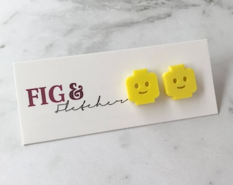 Lego Person Studs, Lego Person Earrings, Lego Face Earrings, Lego Face Studs, Lego Earrings, Lego Studs, Lego Man, Lego Woman, Lego
