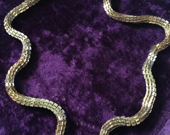 Late 70s Les Bernard gold chain necklace with box link,32 in in length