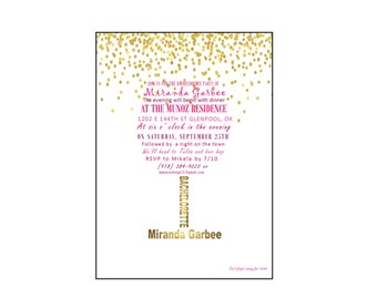 Bachelorette Wine Party Invitation, shaped as a wine glass in pink & dark purple colors