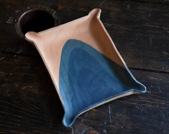 Indigo Dip Dyed Leather Catchall Tray with Abstract Curved Patterns