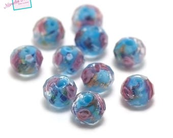 """4 """"flower"""" rondelle lampwork beads faceted 7 x 10 mm, blue"""