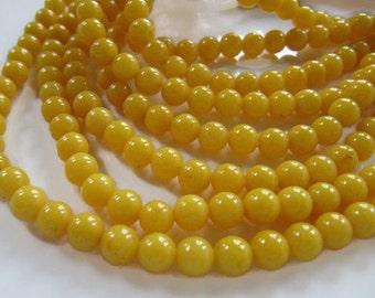 6mm Mashan Jade Beads in Yellow, Round, Shiny, 67 pcs, 1 Strand, Dyed, Dolomite Marble, Candy Jade, Mountain Jade, Gemstone Beads