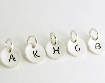 Custom Initial Charm - Small Initial Pendant Custom Initial Charm Hand Stamped Sterling Silver - Birthday Gift for Her - Personalized