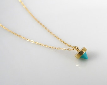 Tiny turquoise cone necklace, tiny pendant necklace, gold filled tiny necklace, turquoise and gold necklace, layering necklace