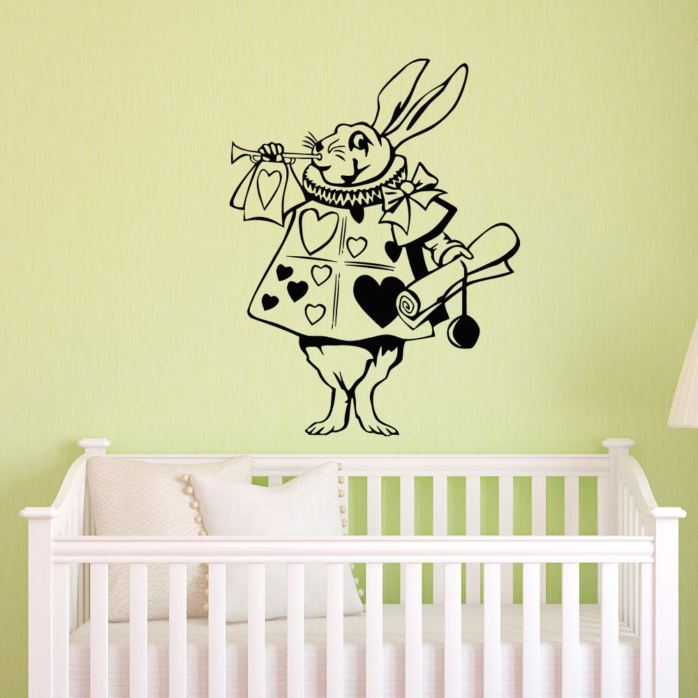 Rabbit Alice In Wonderland Wall Decal Vinyl Sticker Children