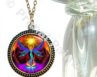 "Unique Chakra Jewelry, Spiritual Angel, Reiki Energy Art Pendant ""Phoenix Rising"""