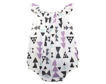 Triangle Romper - Girls Romper - Baby Romper - Toddler Romper - Birthday Outfit - Geometric Romper - Sunsuit - Baby Clothes Purple Triangle