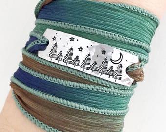 Evergreen Forest, Pine Tree Jewelry, Evergreen Trees, Nature Girl Jewelry, Nature Gift, Travel Jewelry, Boho Wrap Bracelet