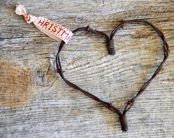 Merry Christmas Barbed Wire Heart Ornament, Barb Wire Western, Farmhouse/Rustic Wedding Favor/Country Cowboy Decor/Cabin Christmas/Primitive