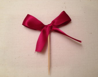 Food Picks Hors D'ouevres pink bows, ribbon Set of 12 Food Decoration, tooth picks wedding bridal shower party red
