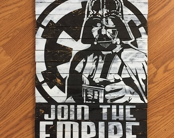Handmade Star Wars Darth Vader Join The Empire Wood Wall Art